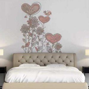 ilustracion corazones en vinilo para dormitorio