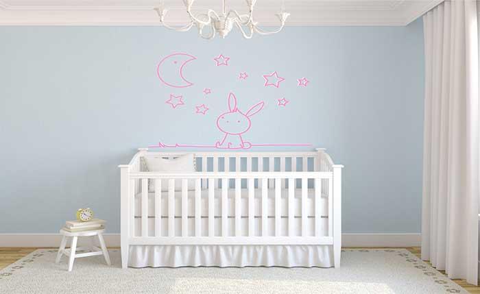 Decoración para habitación infantil de conejito rosa